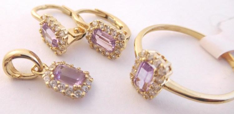 Zlatá souprava s fialovými ametysty (náušnice,přívěsek,prsten) 585/3,84gr H863 (POŠTOVNÉ ZDARMA!!!)