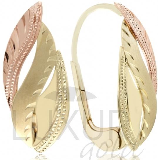 Mohutné zlaté náušnice v kombinaci žlutého a růžového zlata 585/1,90gr 3237047 (3237047 - POŠTOVNÉ ZDARMA!!)