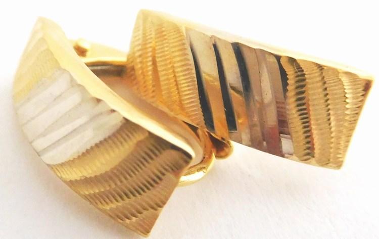Dámské gravírované zlaté náušnice z bílého a žlutého zlata 585/1,20gr 1132085 (1132085 - POŠTOVNÉ ZDARMA)