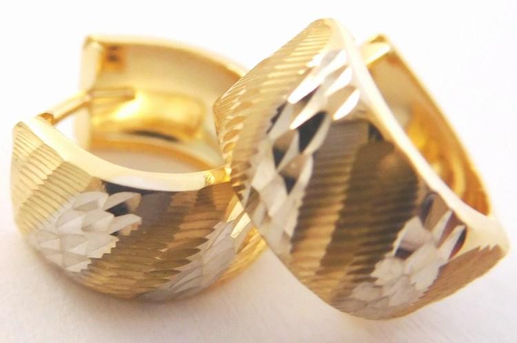 Dámské gravírované mohutné náušnice z bílého a žlutého zlata 585/1,50gr 1131825 (1131825 - POŠTOVNÉ ZDARMA)