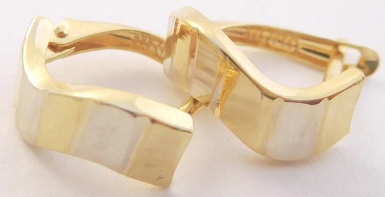 Dámské gravírované mohutné náušnice z bílého a žlutého zlata 585/1,50gr 1131811 (1131811 - POŠTOVNÉ ZDARMA)