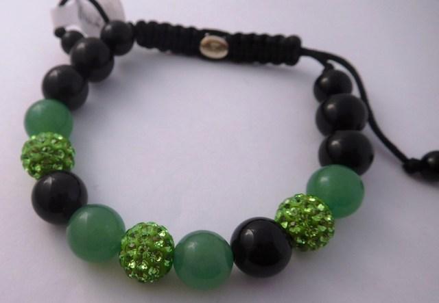 Náramek s pravými drahými kameny - zeleno-černý v dárkovém balení