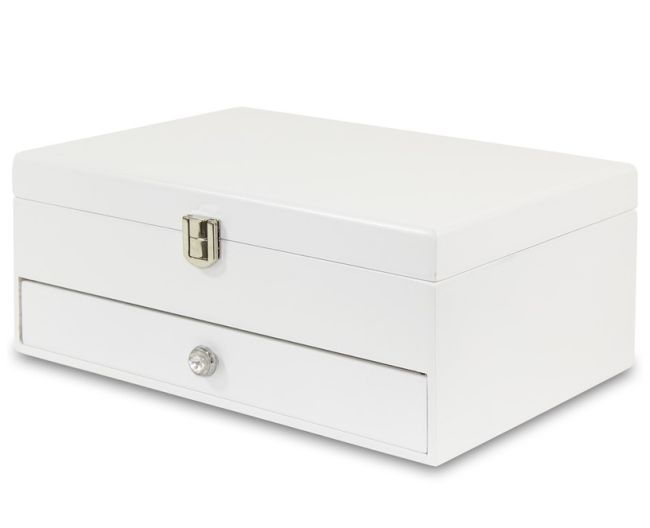 Bílá dřevěná šperkovnice se šuplíkem 104810/24395