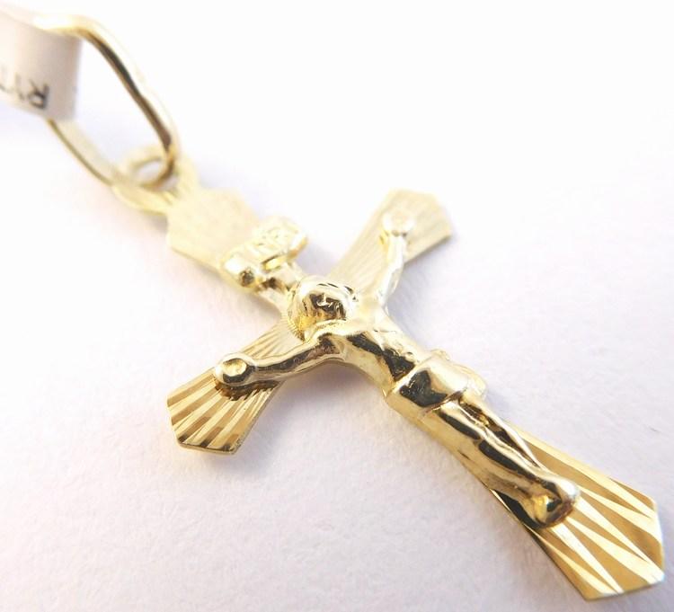 Větší zlatý křížek ze žlutého zlata s Kristem 585/0,55gr 1322151 (1322151)