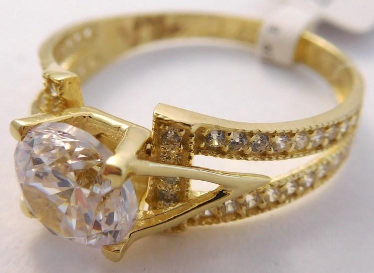 Mohutný zásnubní masivní zlatý prsten posetý se zirkony 585/2,50g vel.59 1213002 (1213002 - POŠTOVNÉ ZDARMA)