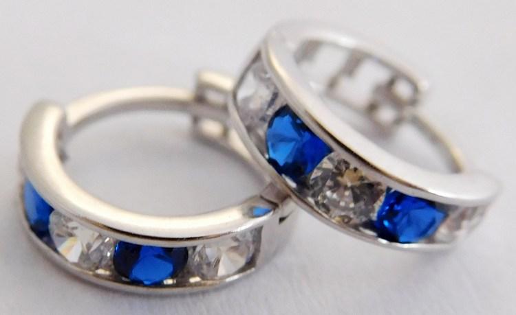 Dívčí zlaté kroužky s modrými safíry 4ks a zirkony pr. 10mm 585/0,95gr 1181197 (1181197 - POŠTOVNÉ ZDARMA!!)