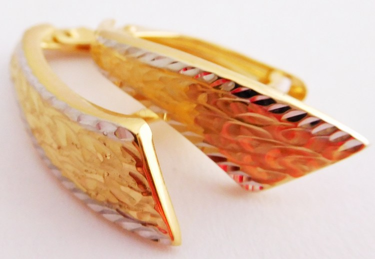 Mohutné gravírované zlaté náušnice z bílého a žlutého zlata 585/1,67gr 1131873 (1131873 - POŠTOVNÉ ZDARMA!!)
