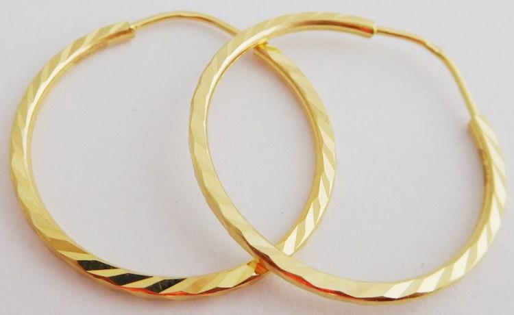 Gravírované velké zlaté kruhy - pr. 23mm 585/1,55gr 1131423