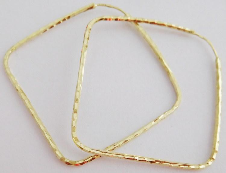 Velké zlaté kruhy (čtverce) s gravírováním - 3,5cm (strana) 585/1,80gr 2333083