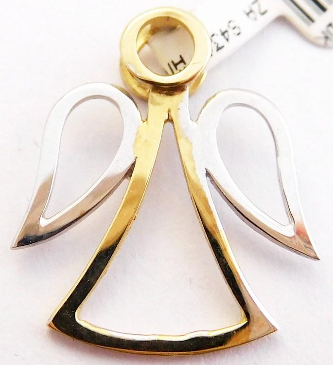 Zlatý andělíček ze žlutého a bílého zlata - přívěsek 585/0,62gr 6820030 (6820030 - POŠTOVNÉ ZDARMA)