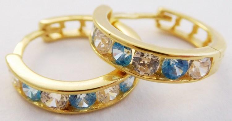 Zlaté kruhy s modrými topazy a zirkony pr. 12mm 585/1,40gr 1131196 (1131196 - POŠTOVNÉ ZDARMA - BLUE TOPAZ)
