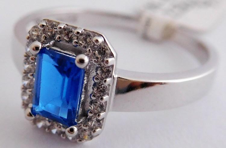 Mohutný zásnubní zlatý prsten s velkým modrým safírem 585/2,52gr vel. 57 1266147 (1266147 - POŠTOVNÉ ZDARMA)