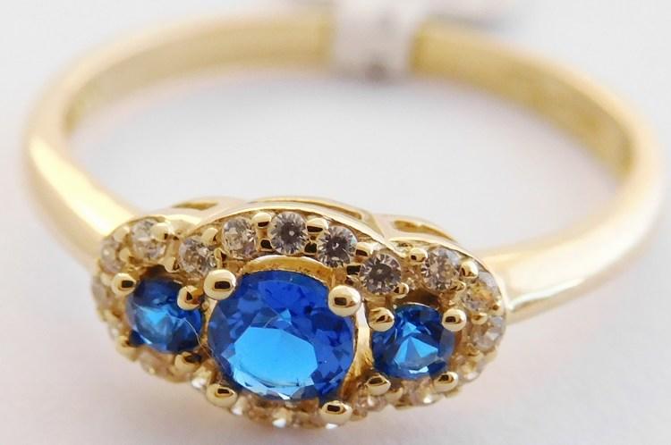 Krásný zásnubní zlatý prsten s modrými safíry a zirkony 585/1,90g vel.56 1810308 (1810308 - POŠTOVNÉ ZDARMA)