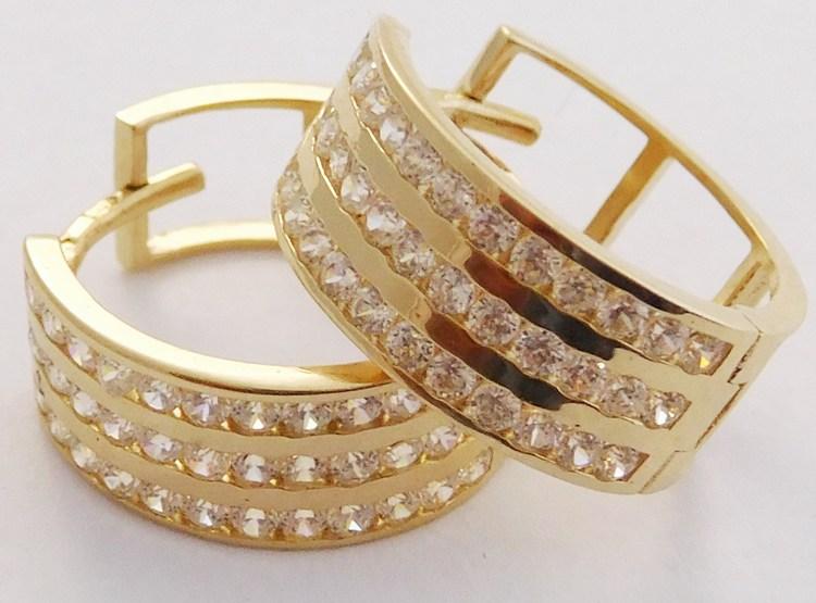 Mohutné zlaté kruhy - tři řady zirkonů po obvodu pr.16mm 585/2,85gr H869 (H869 - POŠTOVNÉ ZDARMA!!)