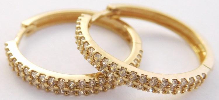 Mohutné zlaté kruhy poseté zirkony (dvě řady) pr. 20mm 585/3,16gr H870 (H870 - POŠTOVNÉ ZDARMA!!)