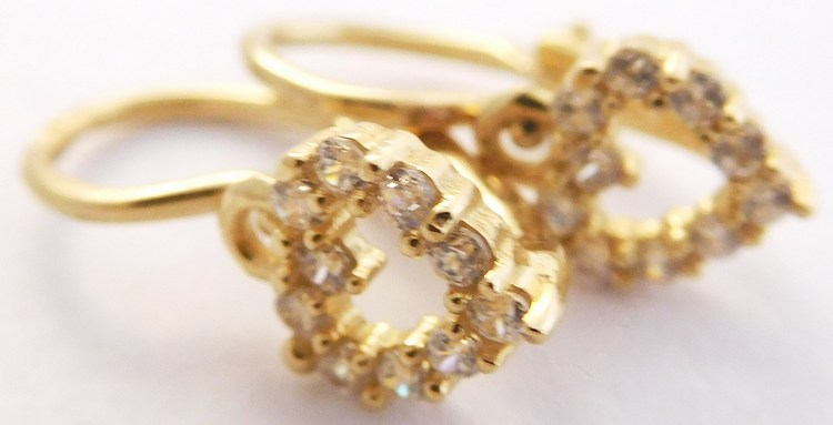 Dětské / dívčí zlaté náušnice se zirkony (srdíčka) 585/1,33gr H871 (H871 - POŠTOVNÉ ZDARMA!!)
