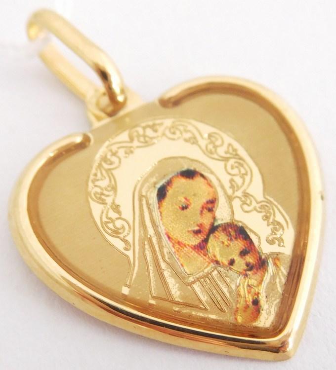 Velká gravírovaná zlatá madonka s dítětem v srdci 585/1,01gr H879 (H879 - POŠTOVNÉ ZDARMA!!)