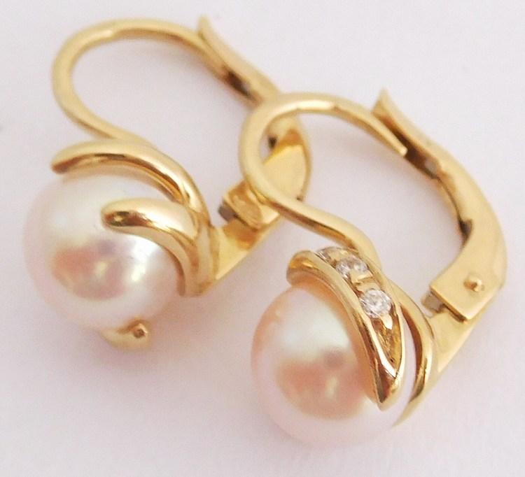 Masivní zlaté náušnice se zirkony a bílými pravými perlami 585/3,84gr H883 (H883 - POŠTOVNÉ ZDARMA - perlové zlaté náušnice - patentové zapínání)