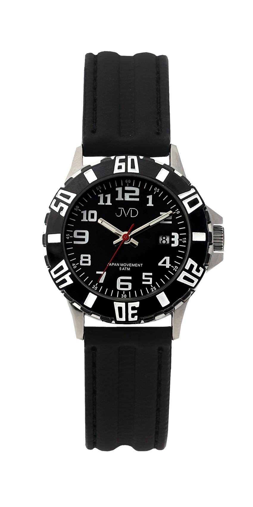 Černé chlapecké vodoodolné dětské náramkové hodinky JVD J7176.1 (5ATM - voděodolnost)