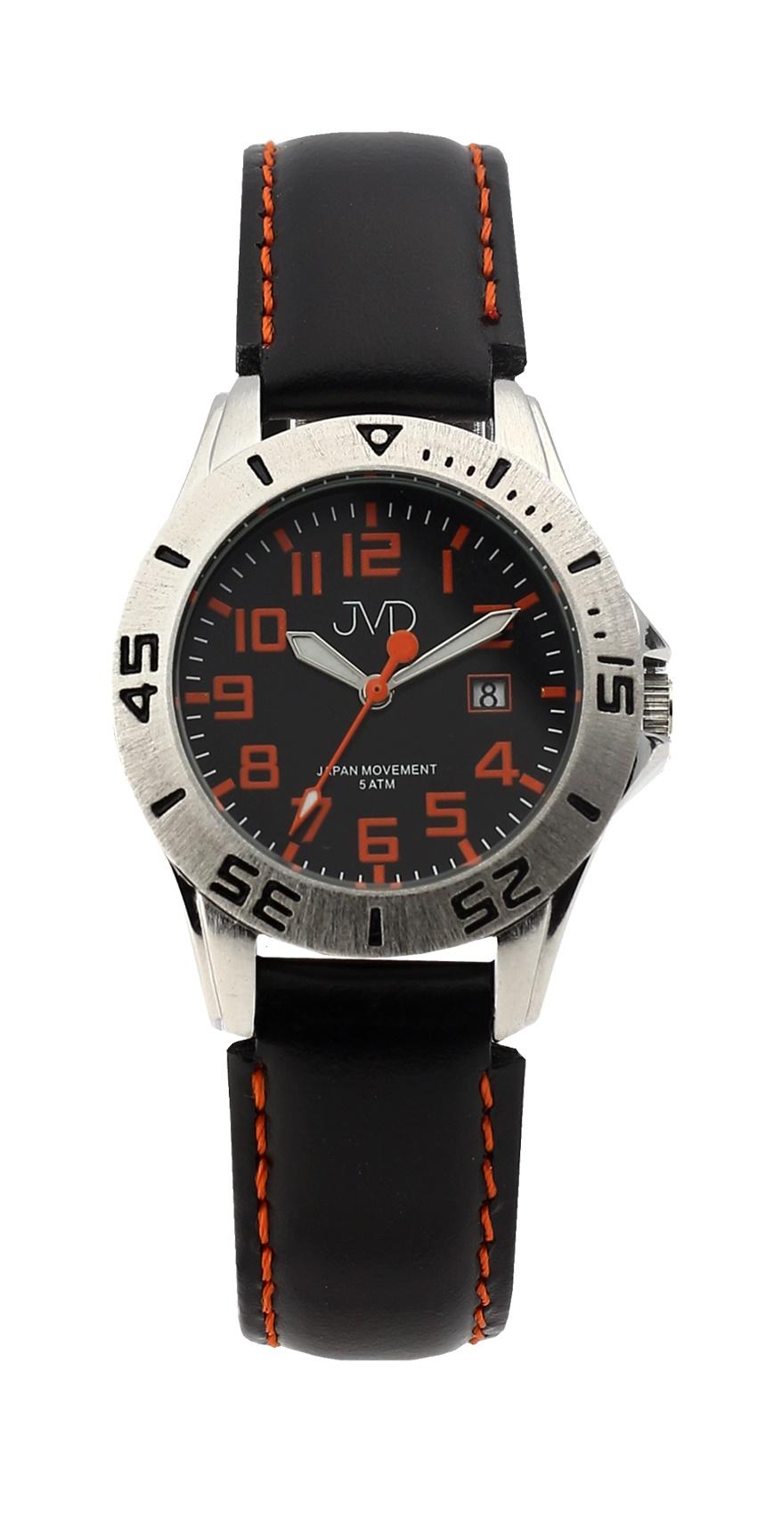 Černé chlapecké vodoodolné dětské náramkové hodinky JVD J7177.1 (5ATM - voděodolnost)
