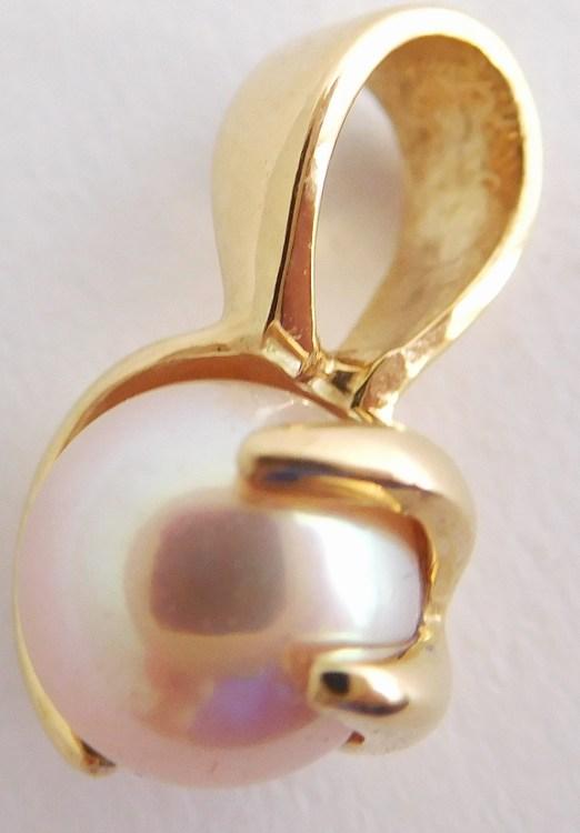 Mohutný zlatý přívěsek - bílá kult. perla zabalená ve zlatě 585/1,76gr H889 (H889 - POŠTOVNÉ ZDARMA )