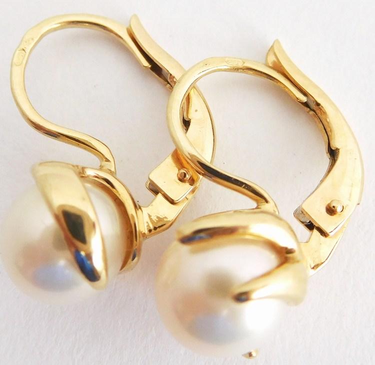 Masivní zlaté náušnice s bílými pravými kultivovanými perlami 585/3,56gr H890 (H890 - POŠTOVNÉ ZDARMA - perlové zlaté náušnice - patentové zapínání)