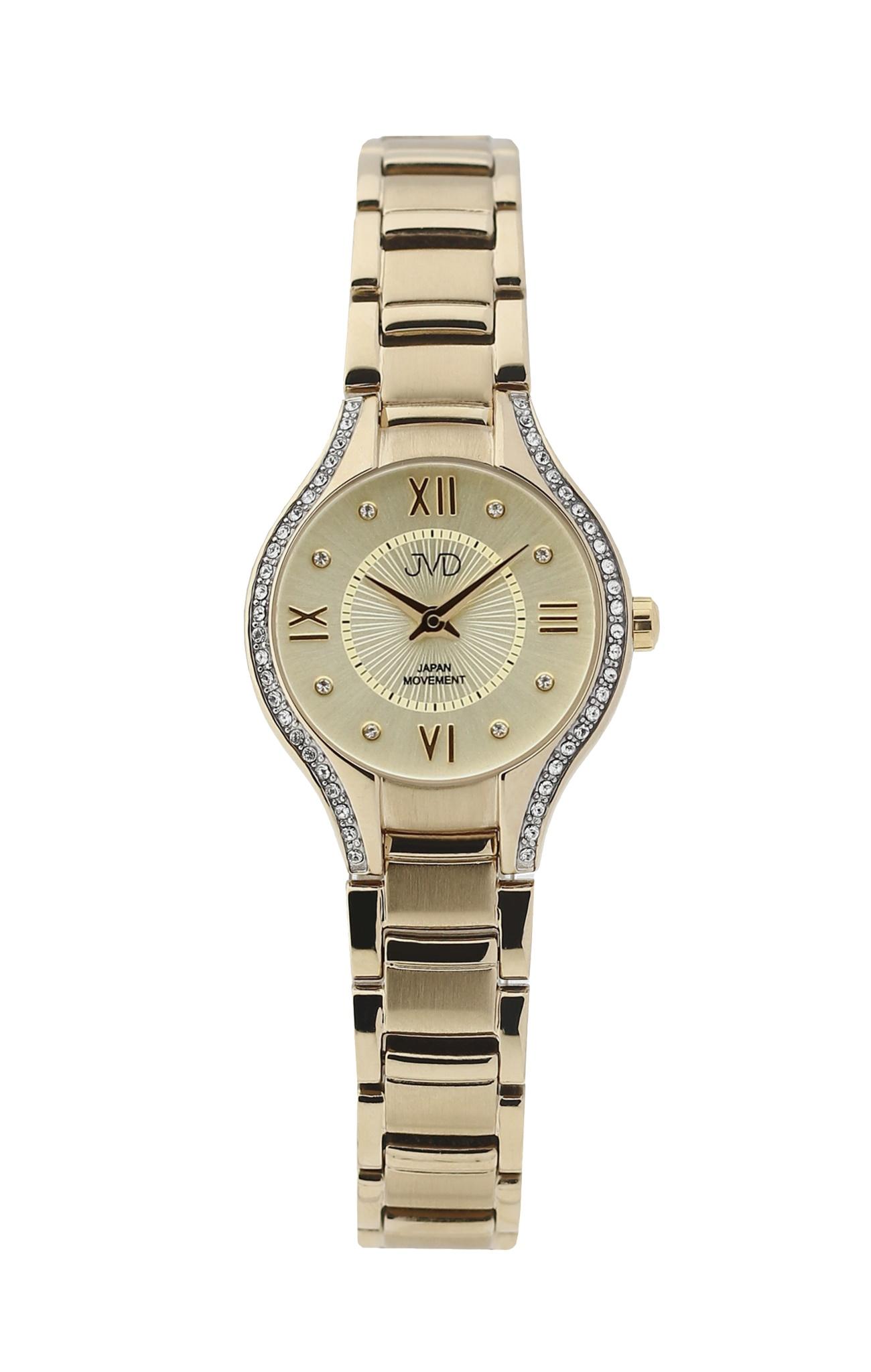 Dámské ocelové zlacené moderní hodinky JVD JC118.2 se zirkony (POŠTOVNÉ ZDARMA!! - vodotěsnost 5ATM)