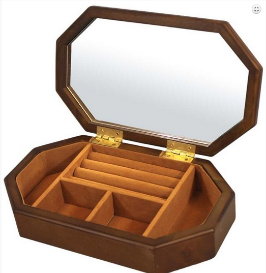 Velká dřevěná hnědá šperkovnice na drahé šperky se zrcadlem 81137 (hnědá šperkovnice)