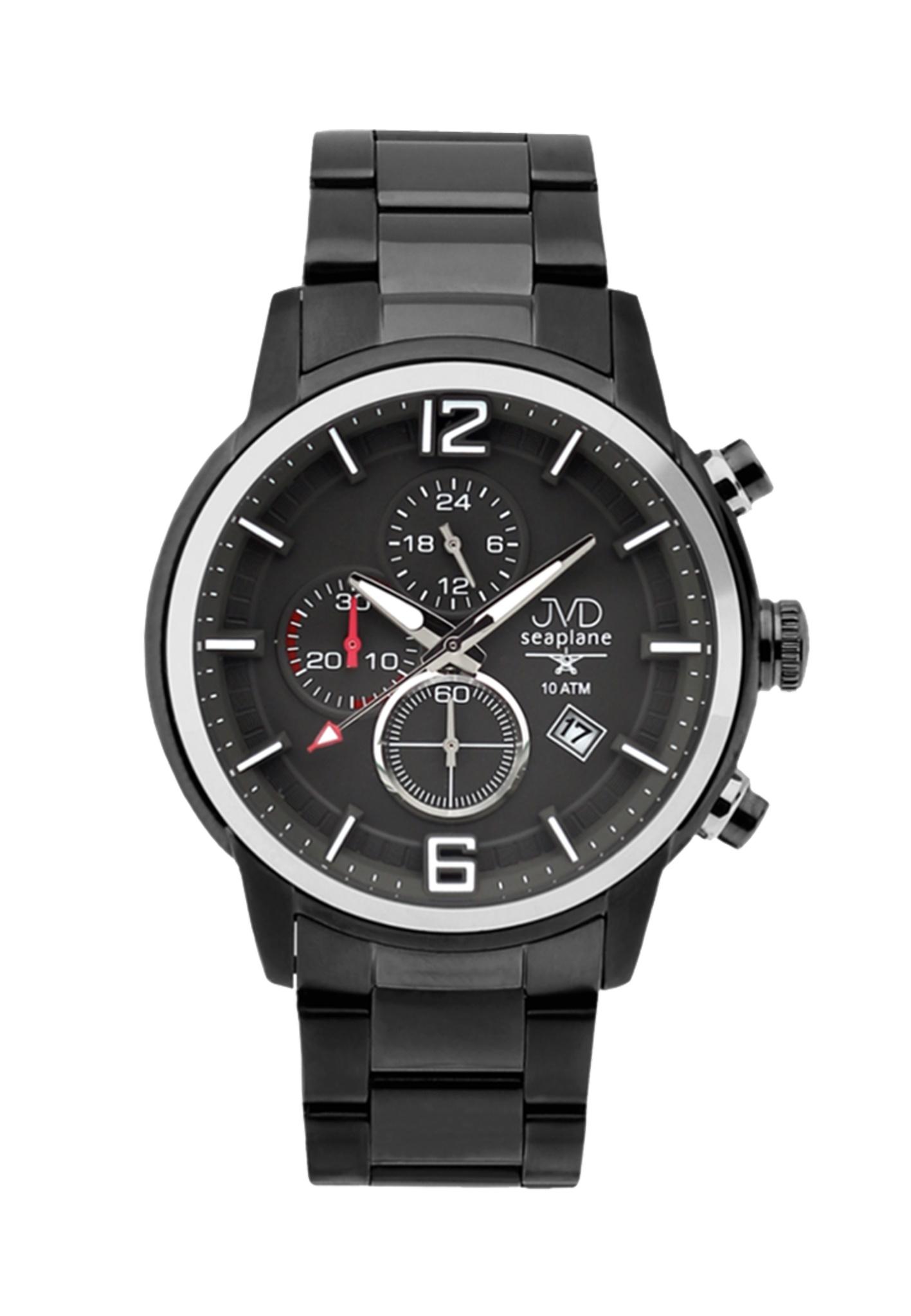 Vysoce odolné černé vodotěsné chronografy hodinky JVD Seaplane METEOR JC667.5 (POŠTOVNÉ ZDARMA!!)