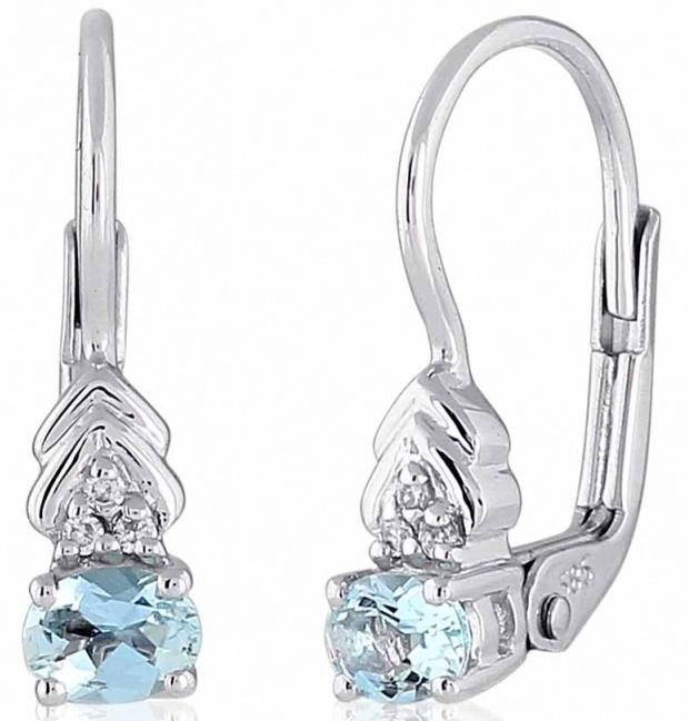 Luxusní zlaté diamantové náušnice s diamanty, pravými modrými akvamaríny 3880148 (3880148 - POŠTOVNÉ ZDARMA!!!)