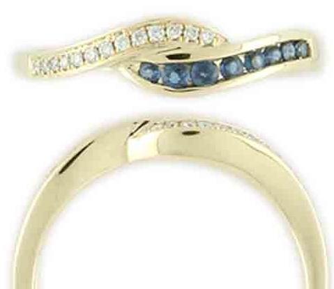 Zlatý prsten posetý brilianty - diamanty a modrými safíry vel. libovolná 3810475 (3810475 - POŠTOVNÉ ZDARMA!!!)