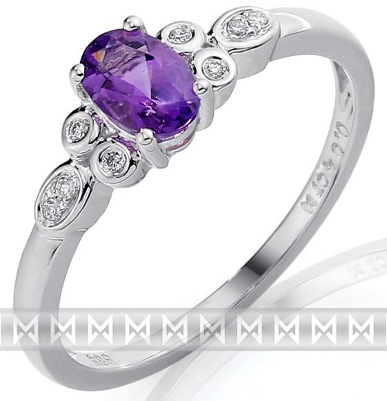 Zlatý diamantový zásnubní prsten s fialovým ametystem bílé zlato 3861587 (3861587 - POŠTOVNÉ ZDARMA!!! - libovolná velikost)