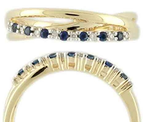 Zlatý prsten posetý brilianty - diamanty a modrými safíry vel. libovolná 3810488 (3810488 - POŠTOVNÉ ZDARMA!!! velikost libovolná)