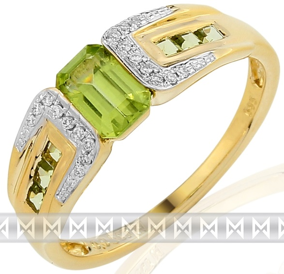 Luxusní zlatý prsten s pravými diamanty a zeleným olivínem 3811736 (3811736 - POŠTOVNÉ ZDARMA