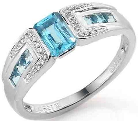 Luxusní zlatý prsten s pravými diamanty a modrým topazem 3861721 (3861721, blue TOPAZ - POŠTOVN