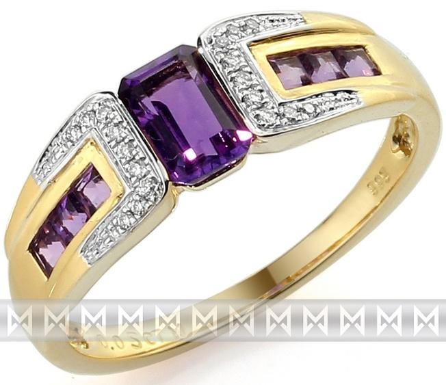 Luxusní zlatý prsten s pravými diamanty a fialovým ametystem 3811725 (3811725 - POŠTOVNÉ ZDARMA!!! velikost libovolná)