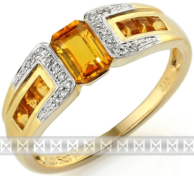 Luxusní zlatý prsten s pravými diamanty a žlutým citrínem 3811729 (3811729 - POŠTOVNÉ ZDARMA