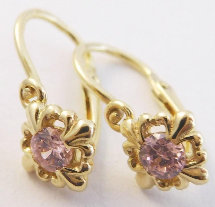 Dětské zlaté náušnice ze žlutého zlata s růžovými růženíny 585/1,07gr 4030010