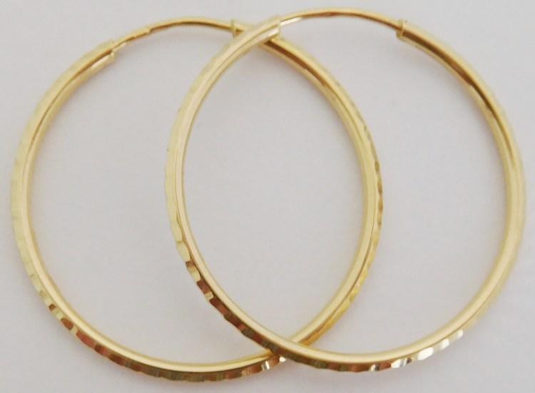 Zlaté velké gravírované kruhy ze žlutého zlata průměr 28mm 585/1,19gr H893 (H893 - POŠTOVNÉ ZDARMA!! velké gravírované zlaté kruhy)