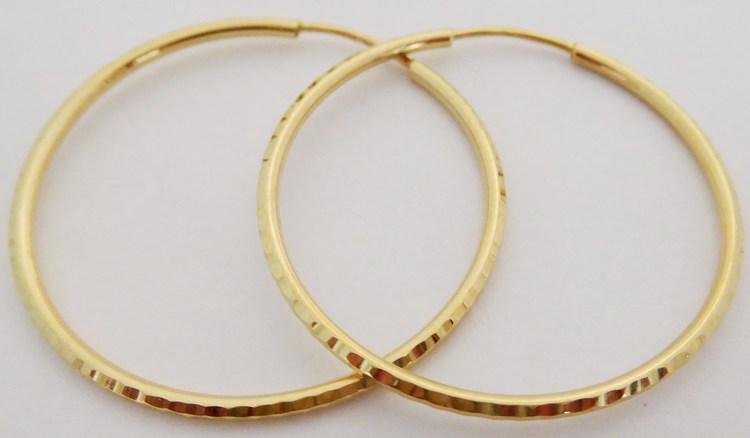 Zlaté velké gravírované kruhy ze žlutého zlata průměr 33mm/3,3cm 585/1,47gr H894