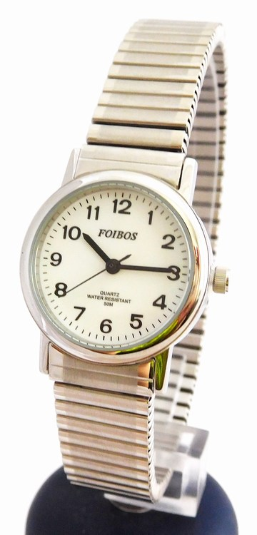 Dámské stříbrné ocelové hodinky Foibos 7432.1 s natahovacím páskem (natahovací pásek - libovolná velikost zápěstí)