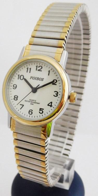 Dámské zlato-stříbrné ocelové hodinky Foibos 7432.2 BICOLOR (natahovací  pásek - libovolná velikost zápěstí 0d5ff8e2e1a