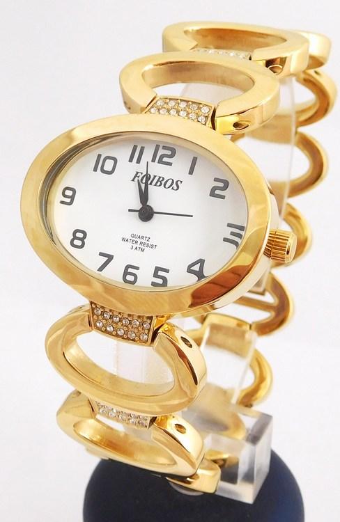 Dámské šperkové zlacené hodinky s kamínky na pásku Foibos 52423 (POŠTOVNÉ ZDARMA!! - zlacené)