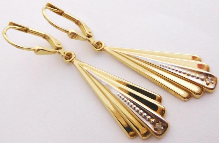 Luxusní diamantové zlaté visací náušnice s dvěma diamanty 585/2,75gr 2003010 (2003010 - POŠTOVNÉ ZDARMA!! náušnice s brilianty)