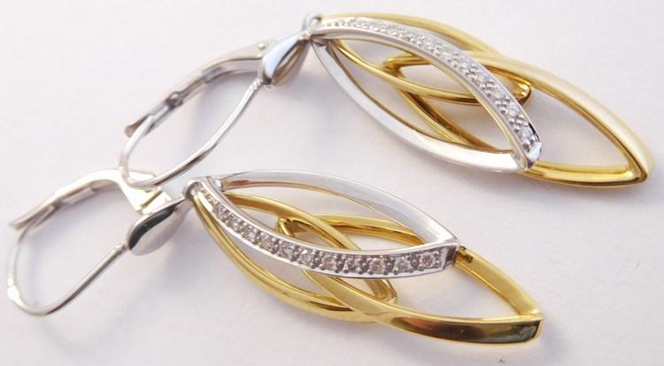 Luxusní diamantové zlaté visací náušnice s 22ks diamantů 585/3,10gr 3933080 (3933080 - POŠTOVNÉ ZDARMA!! náušnice s brilianty - 22ks - kombinace bílého a žlutého zlata )