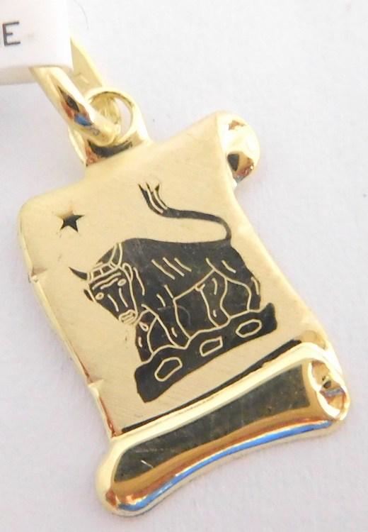 Zlatý přívěsek - zlaté znamení BÝK na pergamenu 585/0,45gr 1322006 (1322006)