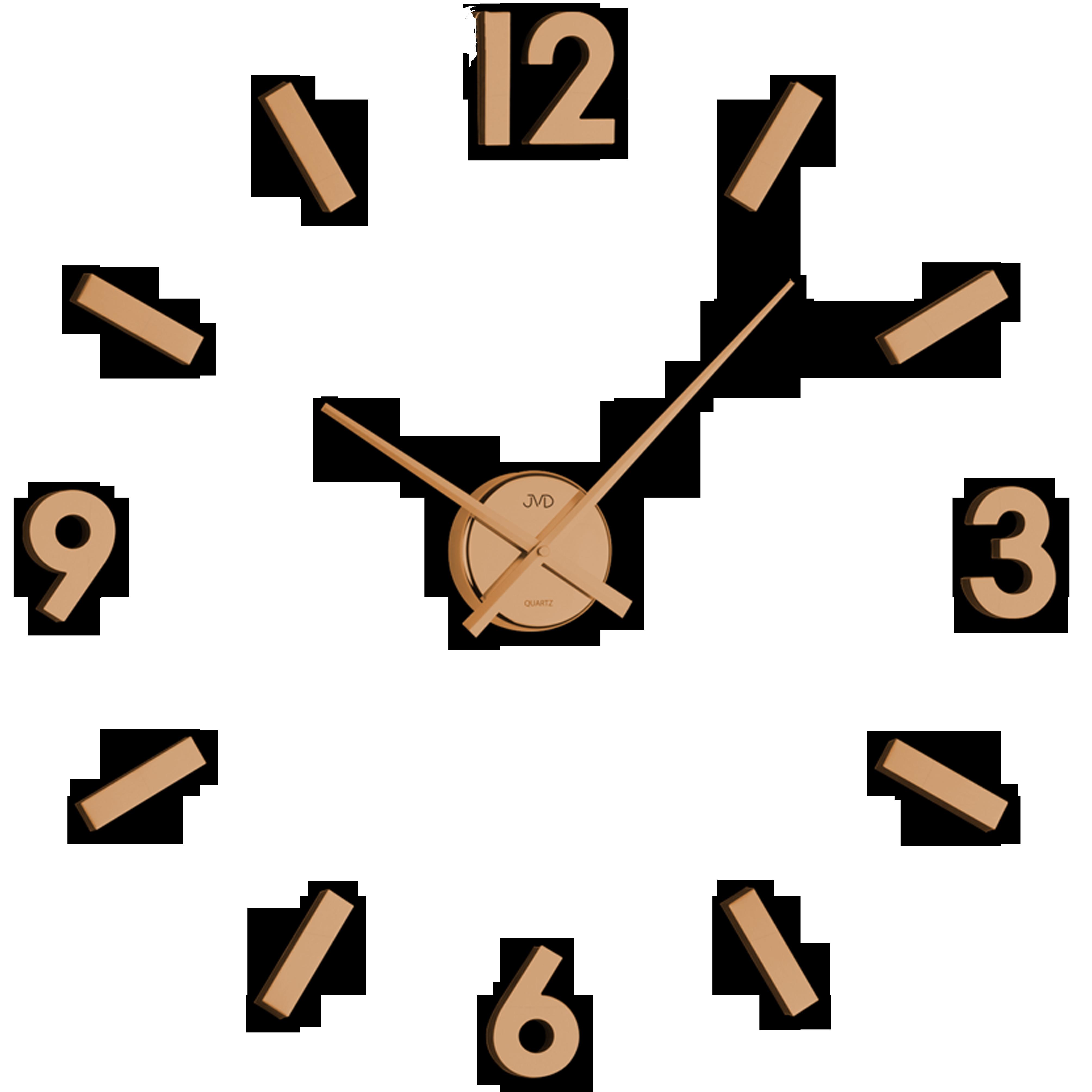 Měděné designové nástěnné nalepovací hodiny JVD HC20.2