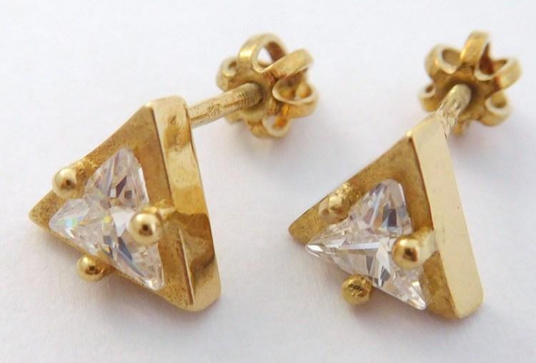 Zlaté trojúhelníčkové náušnice - zlaté pecičky na šroubek 585/2,60gr T298X