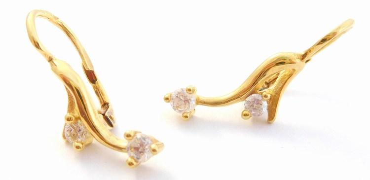 Zlaté náušnice se zirkony ze žlutého zlata na patent 585/3,15gr T287X (POŠTOVNÉ ZDARMA!!! - T287X)
