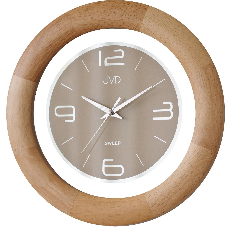 Dřevěné netickající tiché nástěnné hodiny JVD NS14065/68 ( )